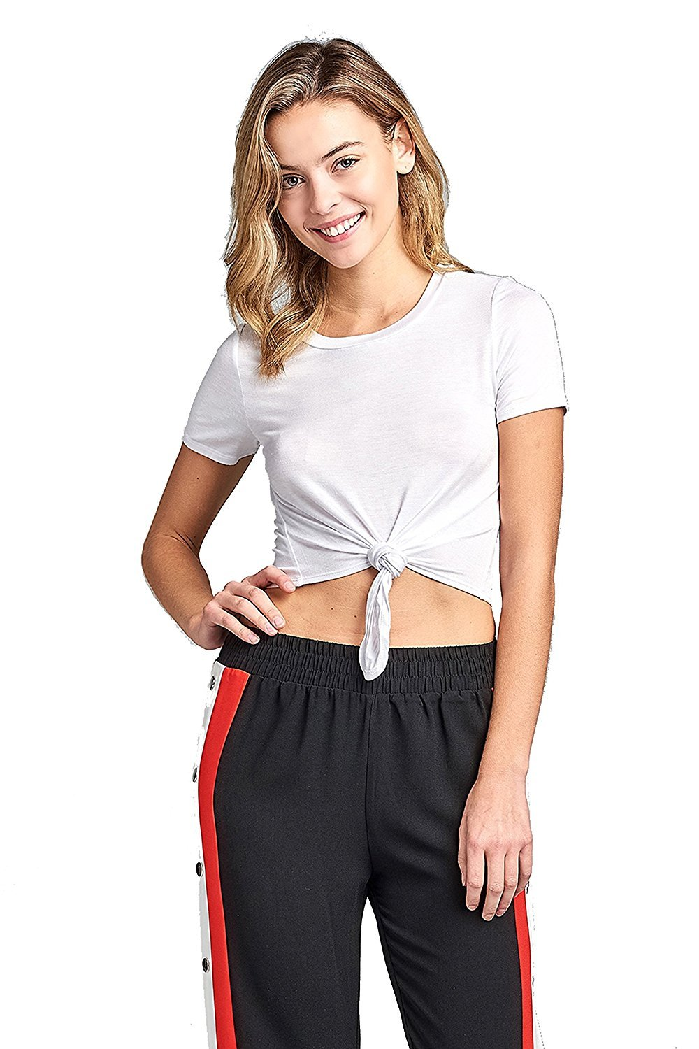 Khanomak Plain Short Sleeve Round Neck With Knotted Front Basic Crop Top