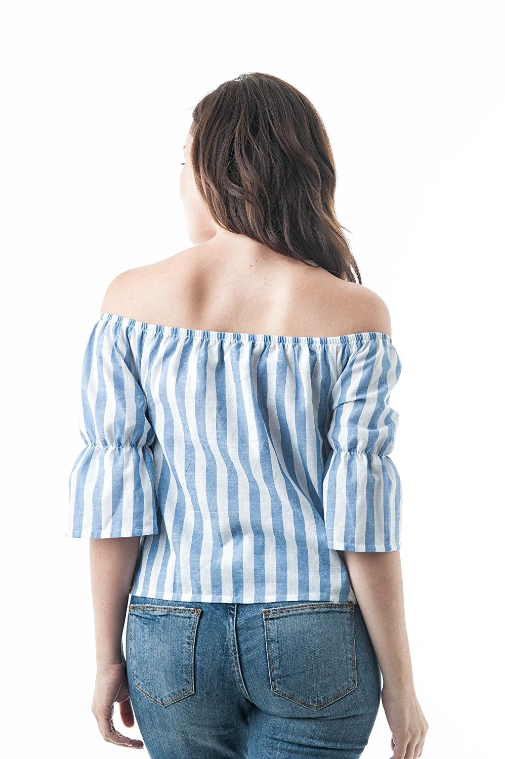 3/4 Ruffle sleeve Off the Shoulder Stripe Drawstring crop top