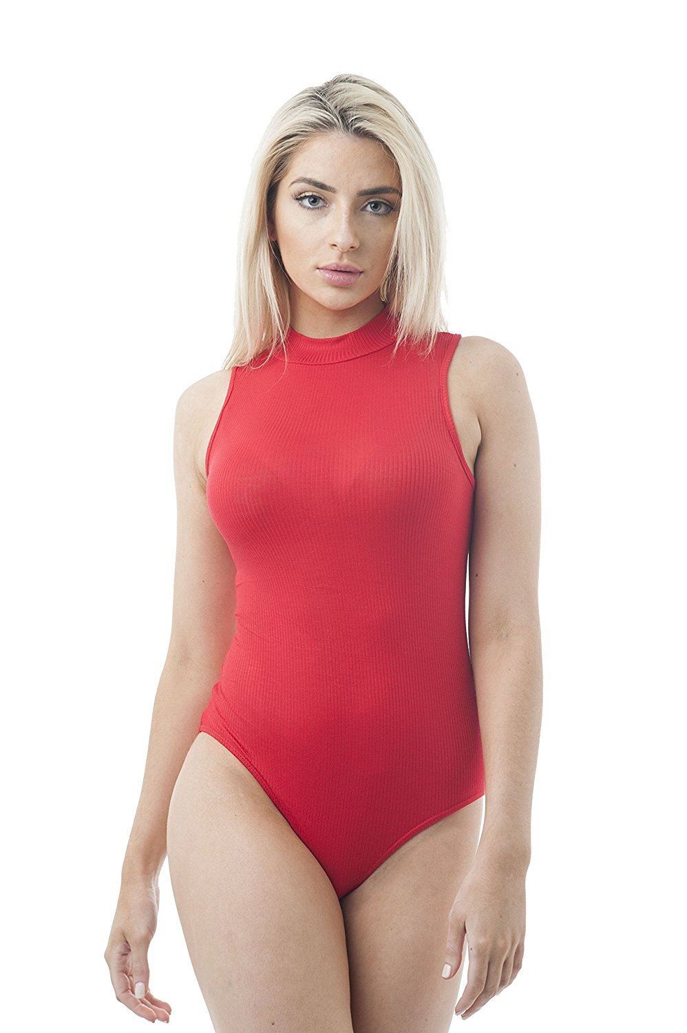 Sleeveless Ribbed Mock Neck Bodysuit