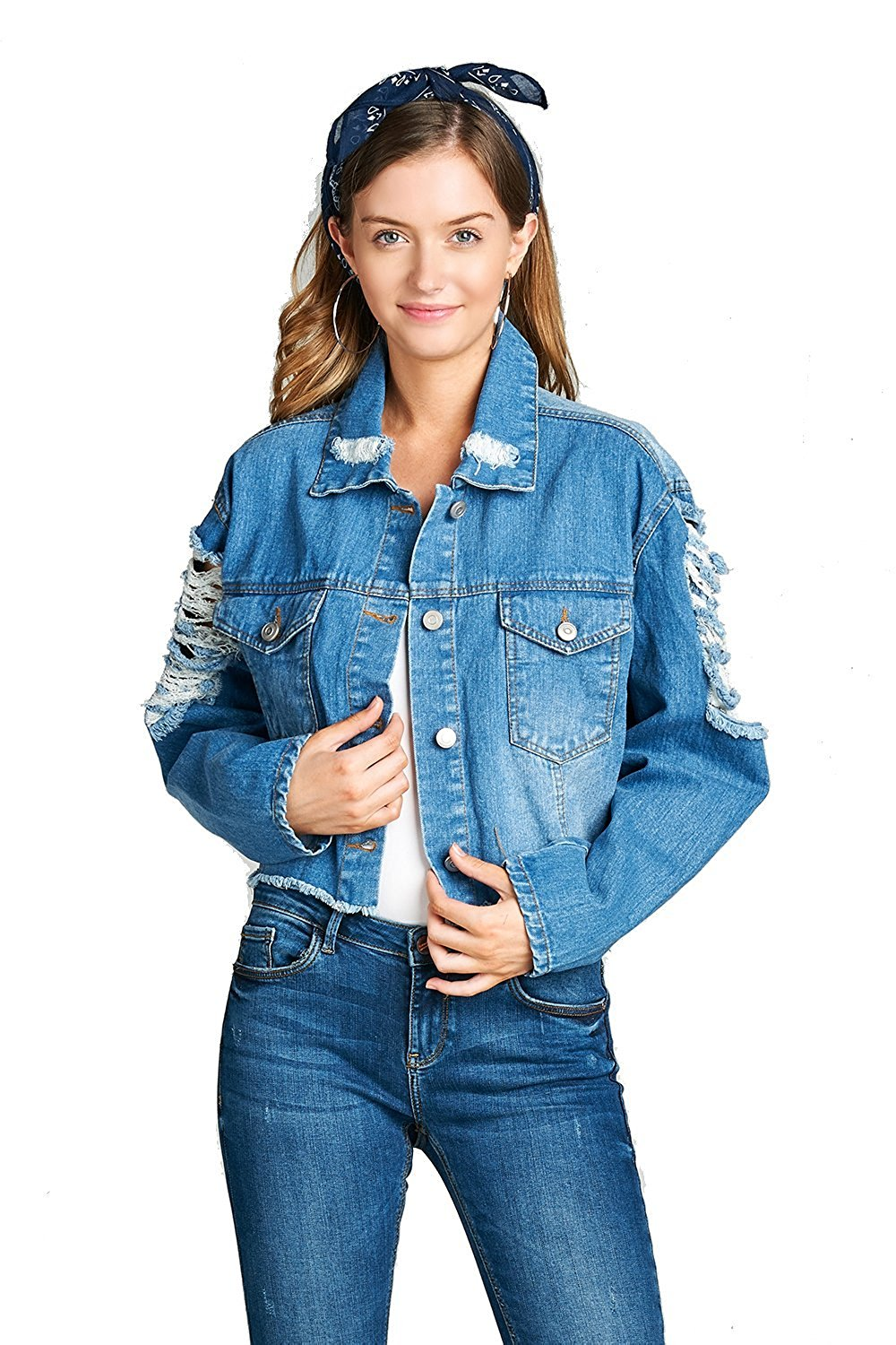 Khanomak Oversized Cropped Basic Collar Button Front Distressed Ripped Denim Jacket
