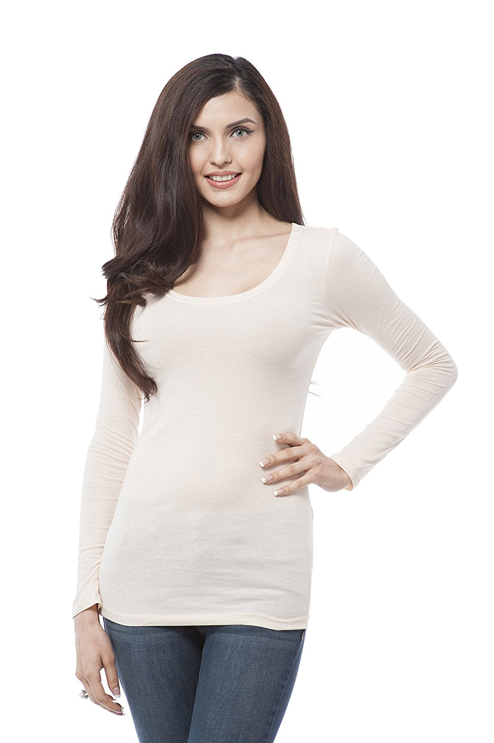Hollywood Star Fashion Plain Casual Scoop Neck Long Sleeve Top
