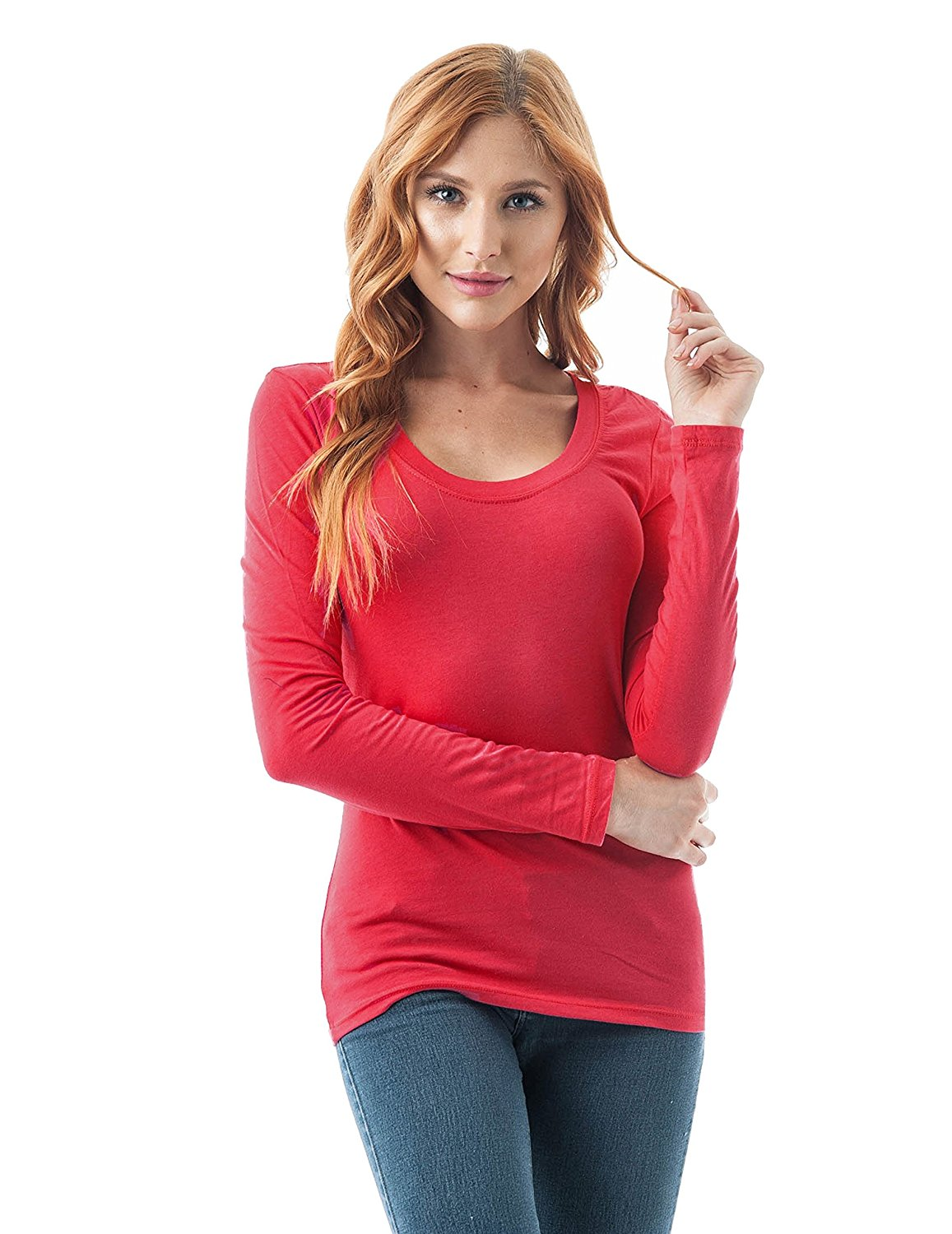 Khanomak Plain Casual Scoop Neck Long Sleeve Tee T-Shirt