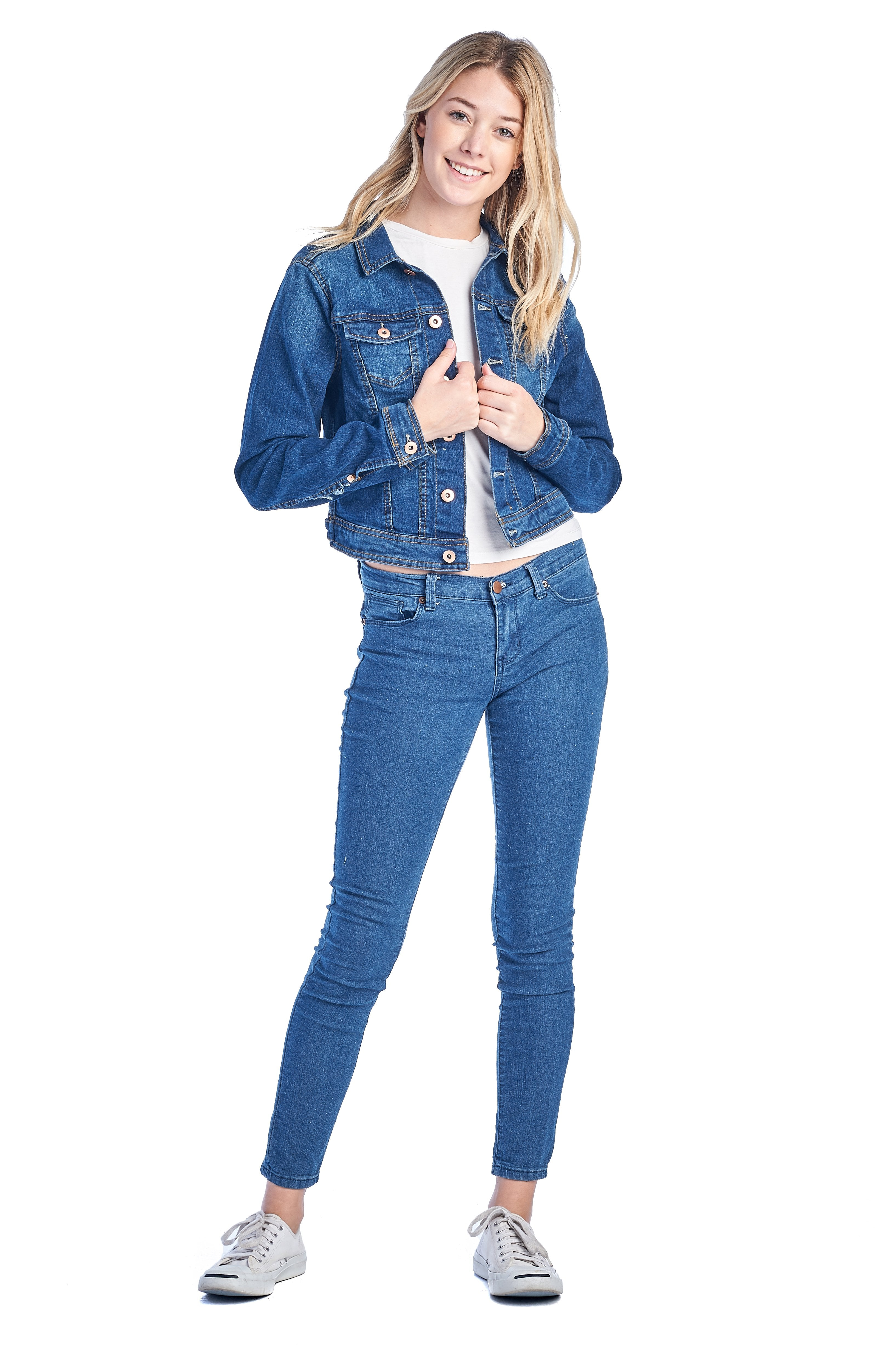 Women's Long Sleeve Basic Casual Classic Cotton Button Front Faded Wash Denim Jean Jacket