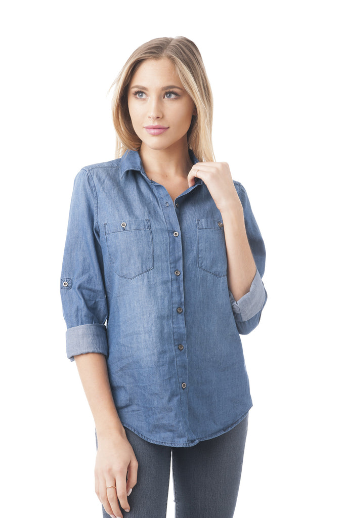 Denim Button Down Roll-Up Sleeve Shirt