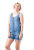 Sleeveless Chambray Denim Coverall Shorts Romper