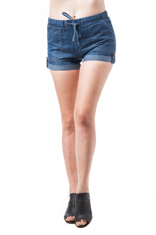 Elastic Waist Cuffed Hem Solid Plain Denim Chambray Shorts