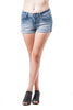 Acid Wash Denim Cuffed Plain Short Shorts