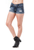 Denim Cuffed Rip Distress 2 Button Shorts