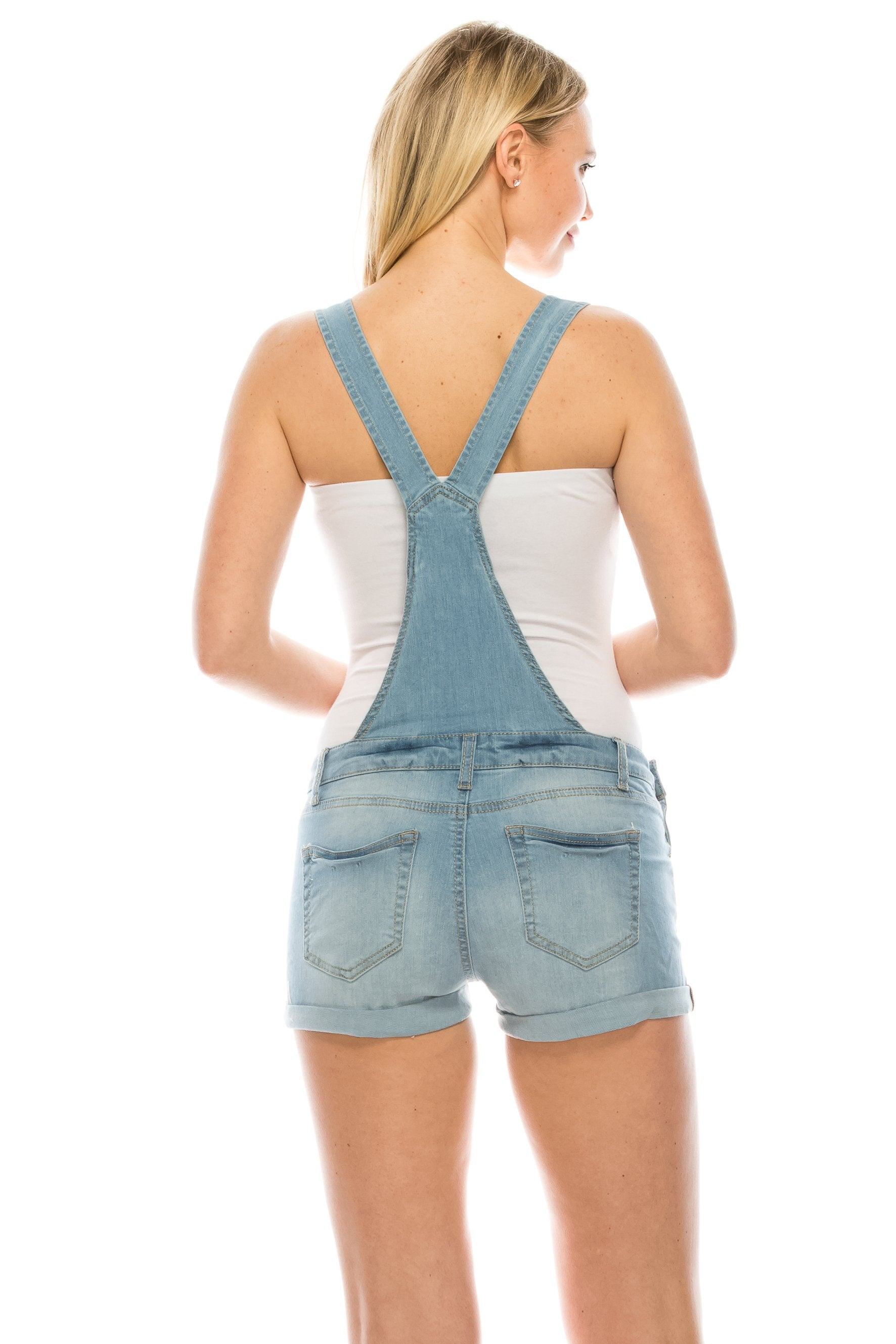 Women's Adjustable Straps Distressed Cuffed short Overall Light Blue Dungarees Shorts Roll Cuff Shortalls - Small