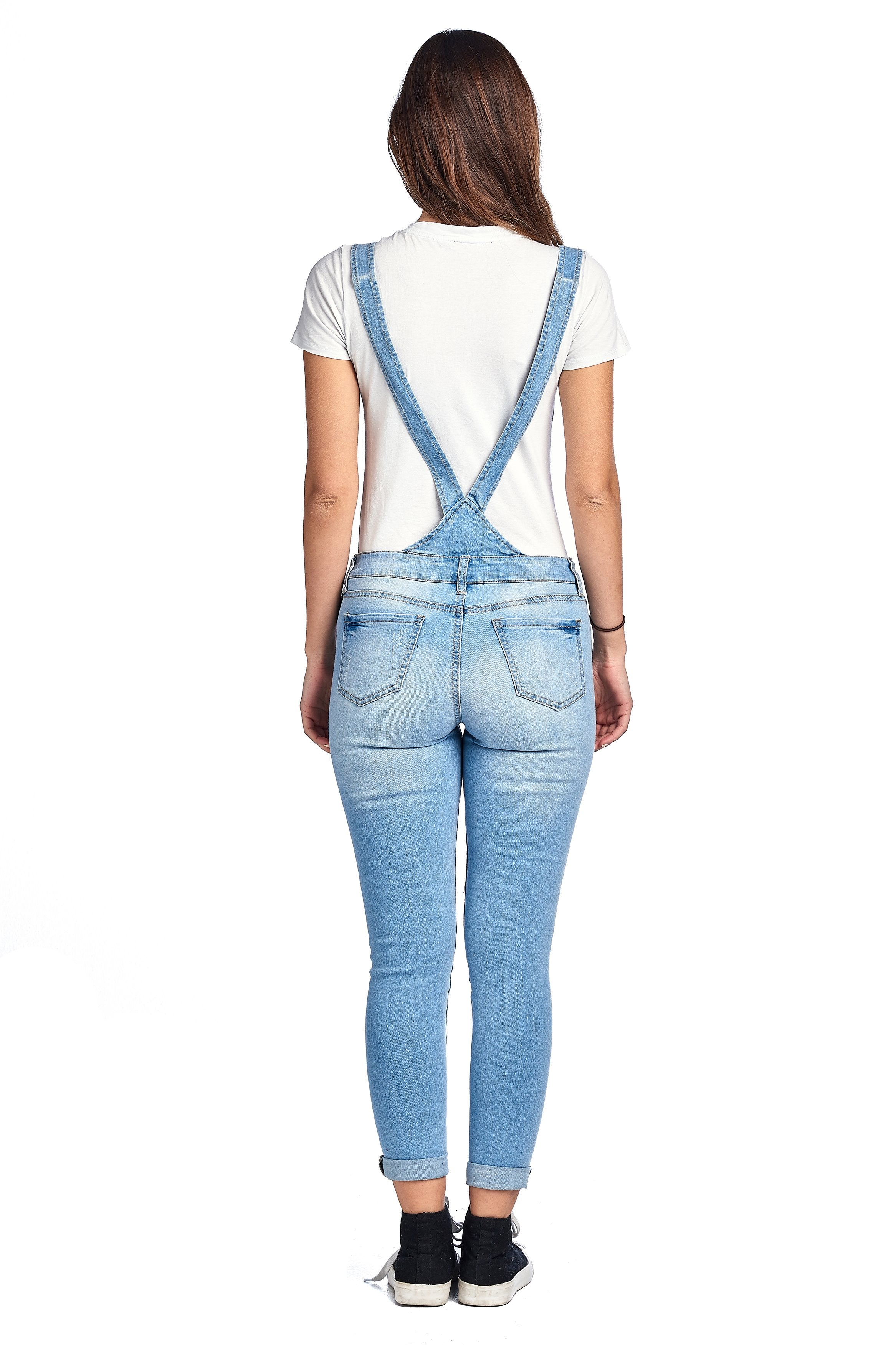 Denim Distressed Rolled Cuff Ankle Length Adjustable Straps Skinny Jean Overalls