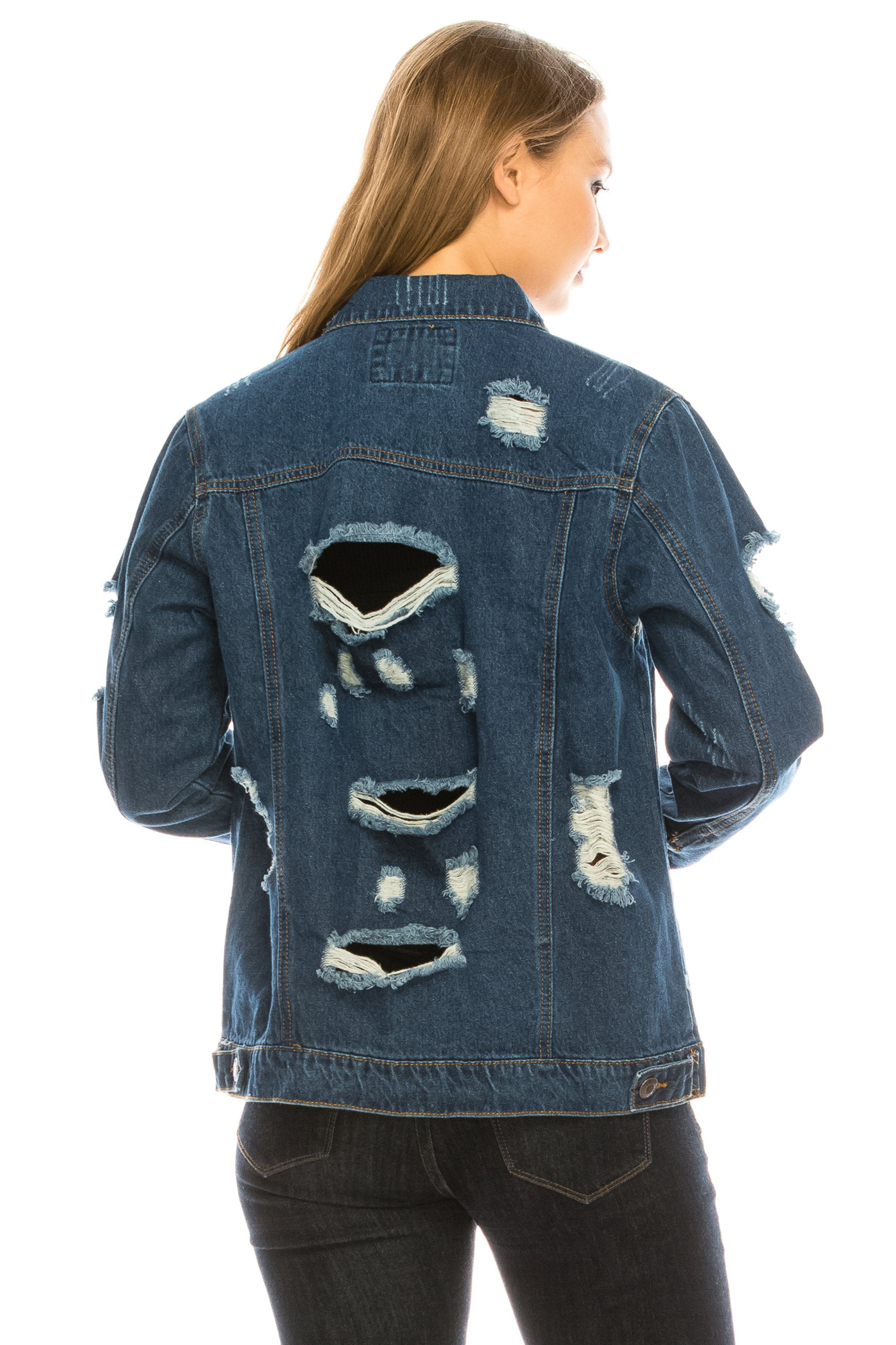 Women's Oversize Fit Boyfriend Distressed Ripped Jean denim Jacket