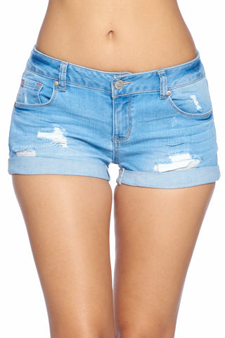 Women's Low Waist Ripped Blue Denim Jeans Shorts Stretch Roll up