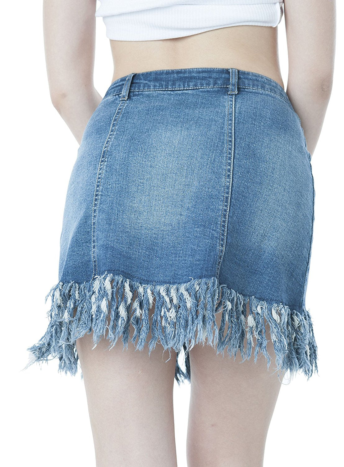 Denim Distressed Button Down A-Line Skirt With Long Fray Trim