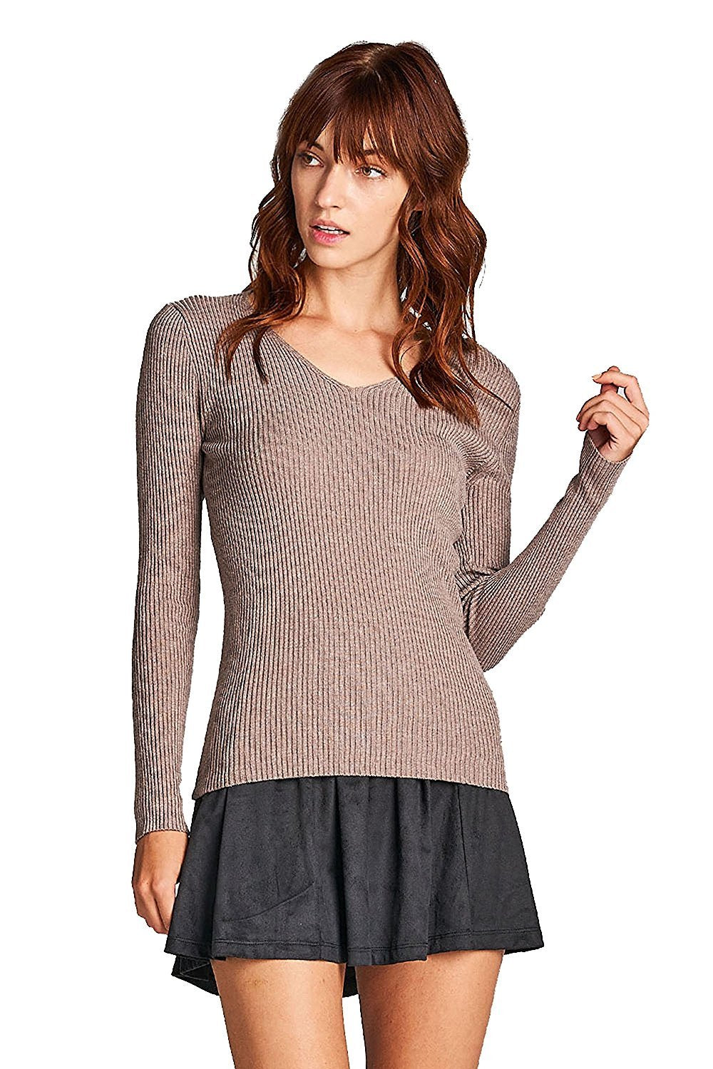 Khanomak Plain Solid Stretch Fitted Long Sleeve V Neck Ribbed Knit Lightweight Sweater Top