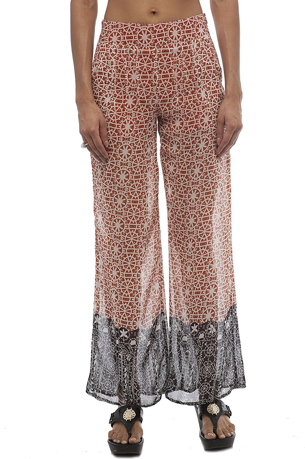 Chiffon Printed High Waisted Wide Leg Pants