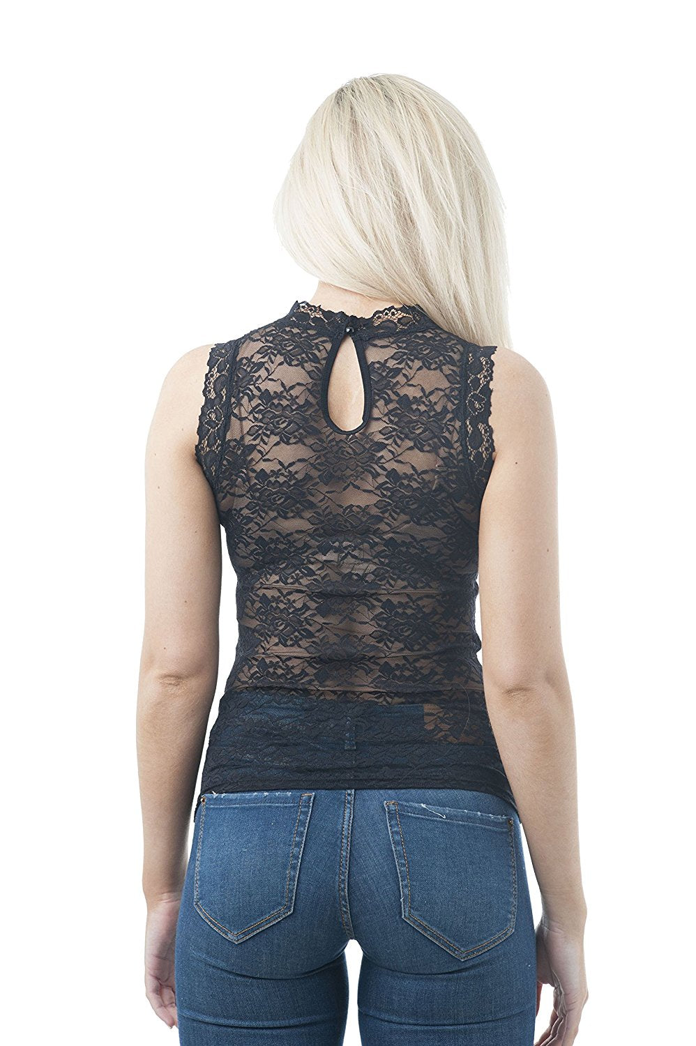 Sleeveless Mock Neck Lace One Size Top