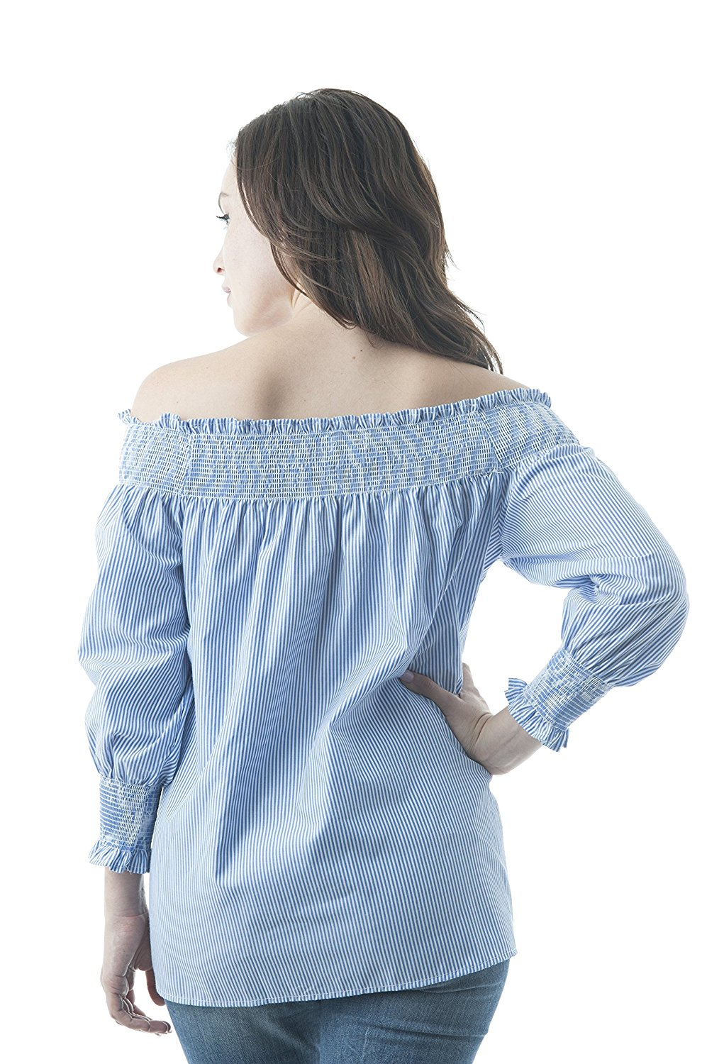 3/4 Sleeve Off The Shoulder Stripe Elastic Cuffed Wrist Woven Top