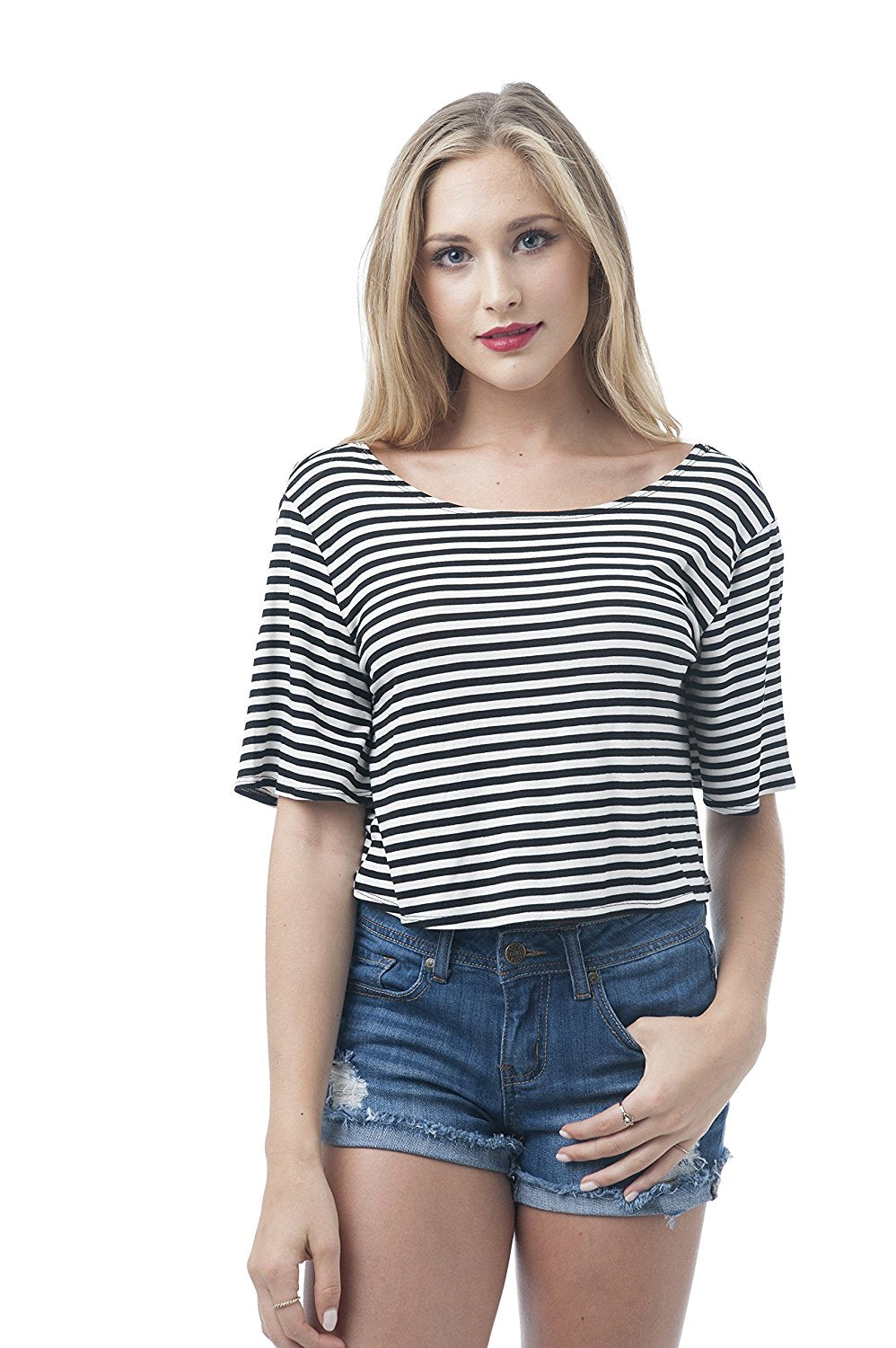 Half sleeve Striped Back Twist Crop Top