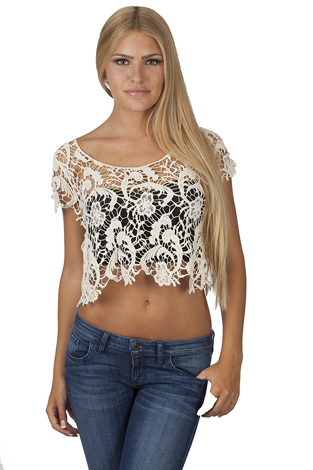 Hollywood Star Fashion Women's Scoopneck Floral Crotchet Crop Top