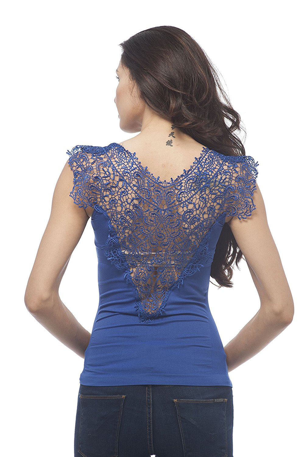 Sleeveless lace trim detail front and back with ribbed sides