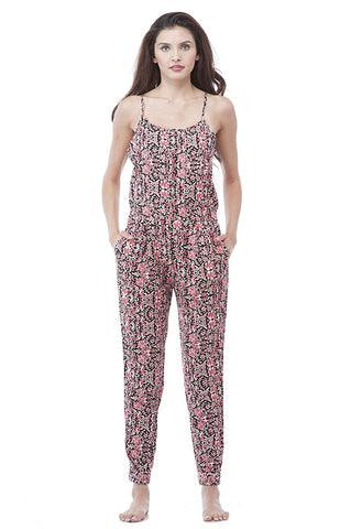 Adjustable Spaghetti Strap Halter Neck Printed Floral Jumpsuit