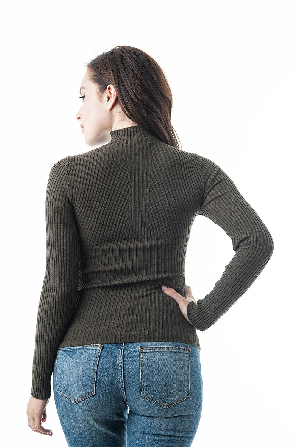 Plain Long Sleeve Mock Neck Fitted Ribbed Knit Sweater Top