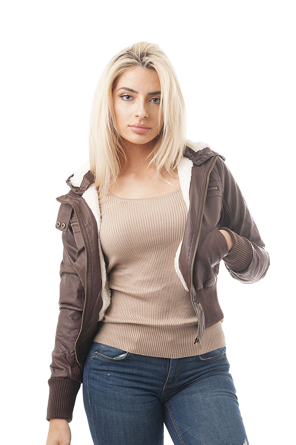 Detachable Hood Long Sleeve Fur Lining Faux Leather Jacket