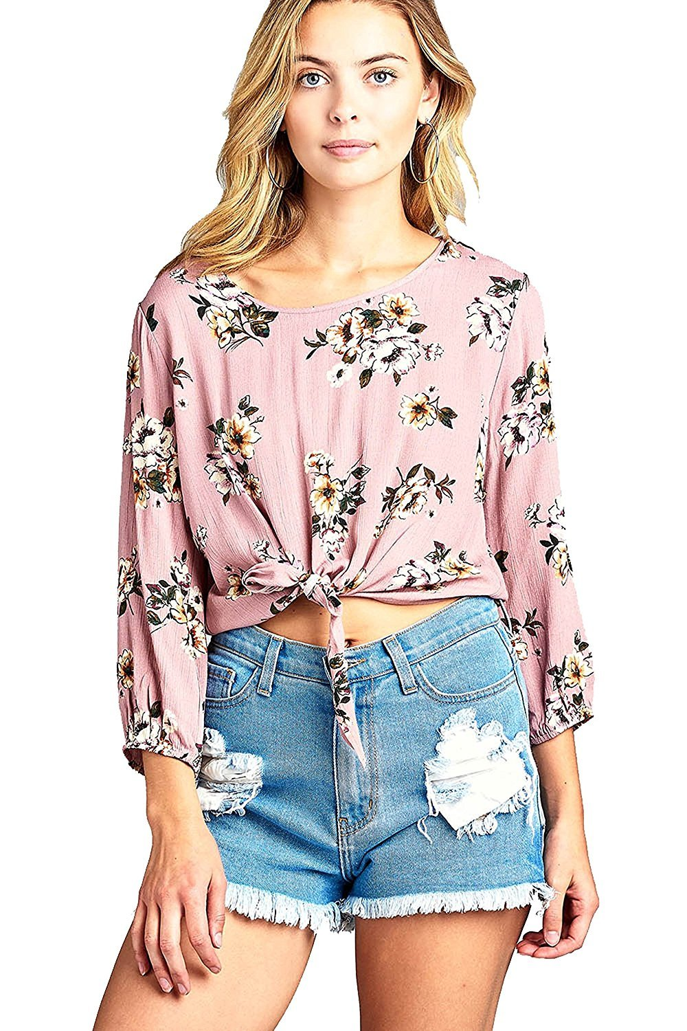 Khanomak Long Sleeve Elasticized Cuffs Round Neck Semi Cropped Floral Print Front Self Tie Top