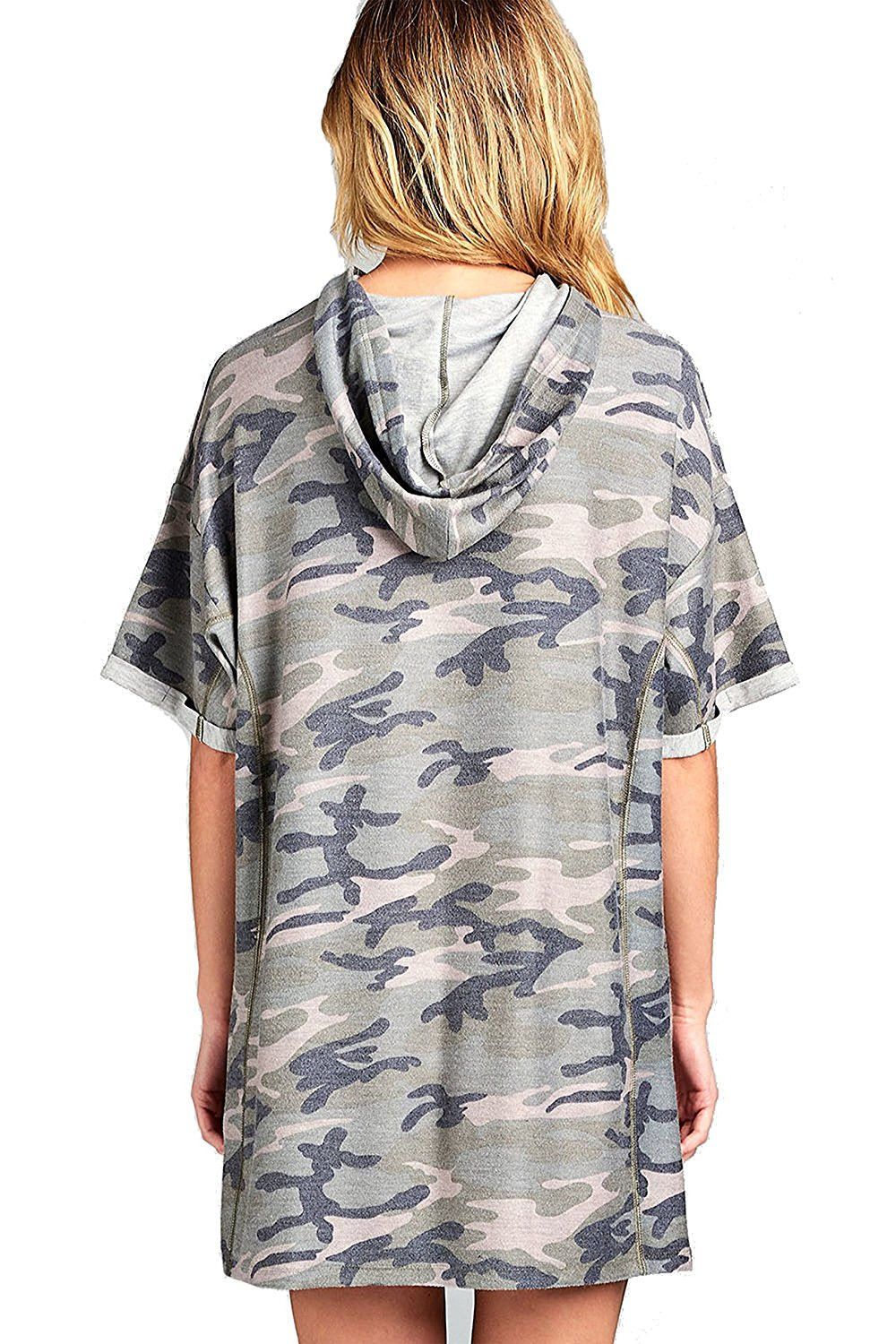 Khanomak Short Sleeve Hooded Oversized Loose Fit Casual All Over Camo Print T-Shirt Dress
