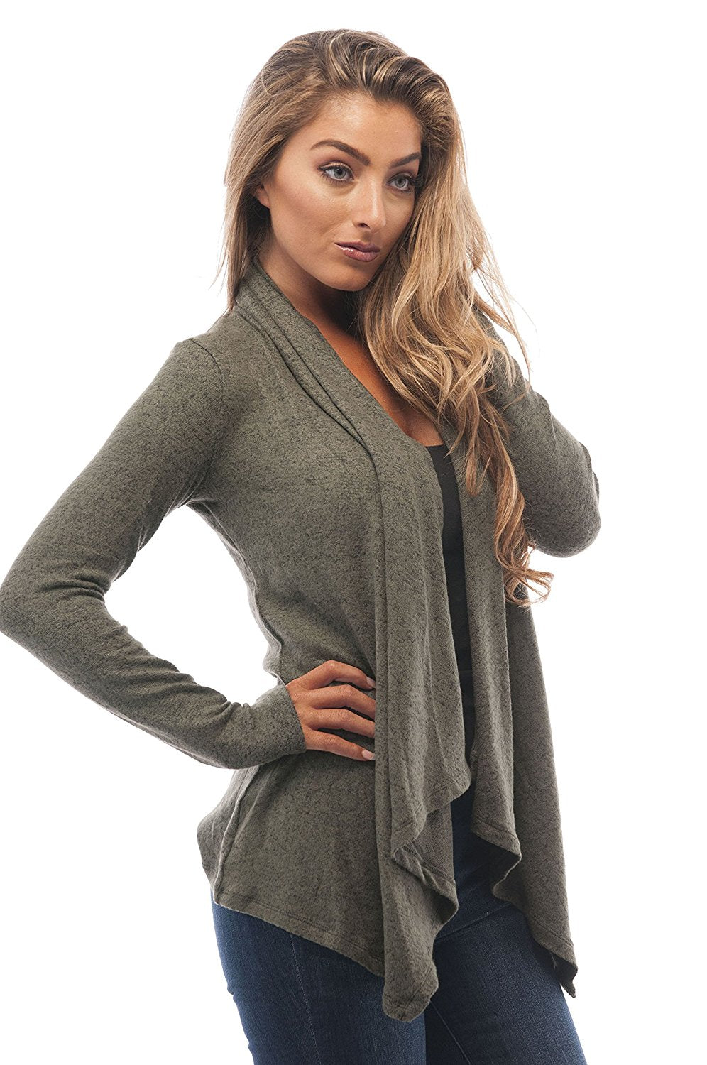 Hollywood Star Fashion Brushed Fabric Light Weight Cardigan