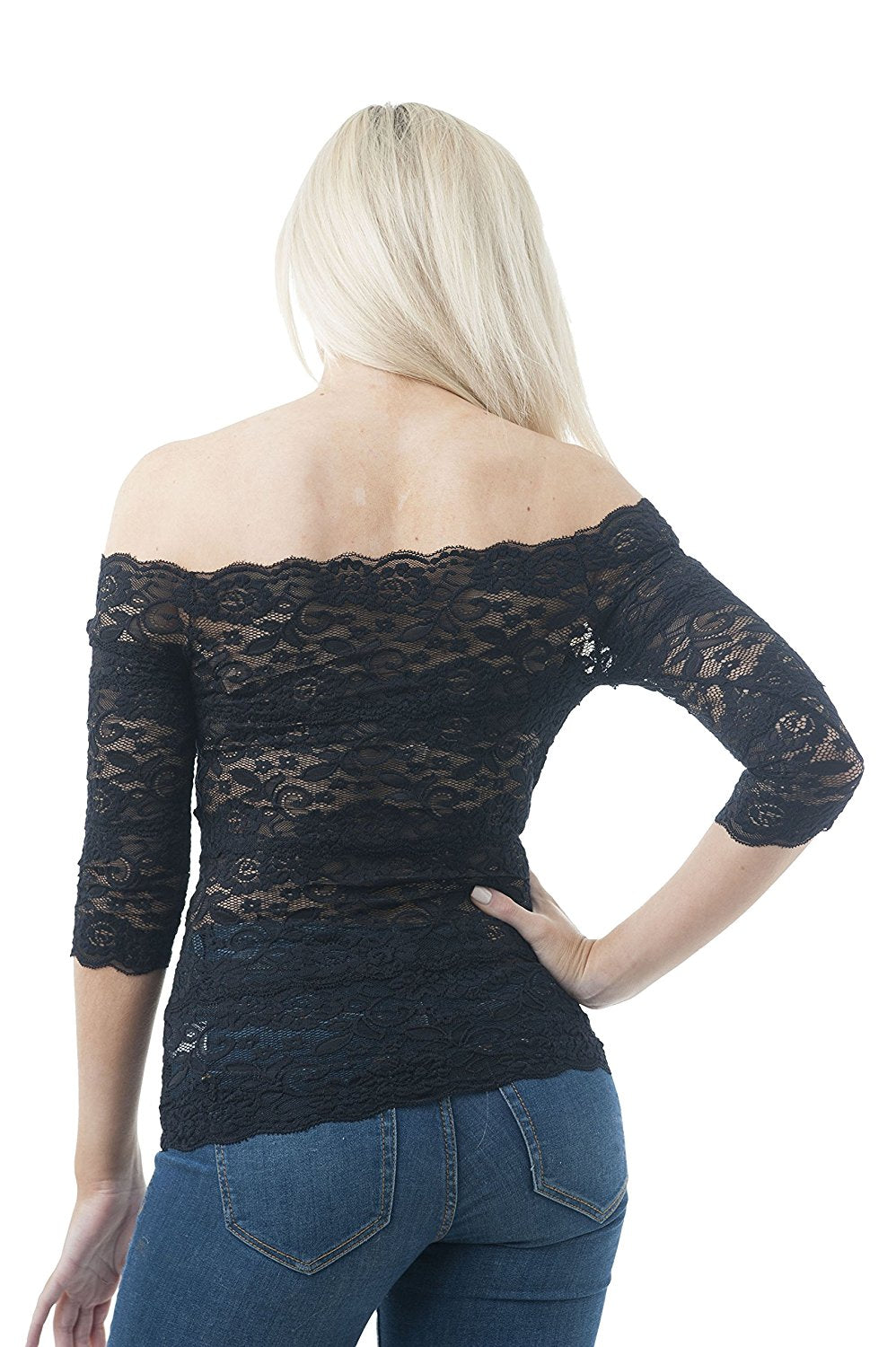 Khanomak Half Sleeve Off The Shoulder Lace One Size Top