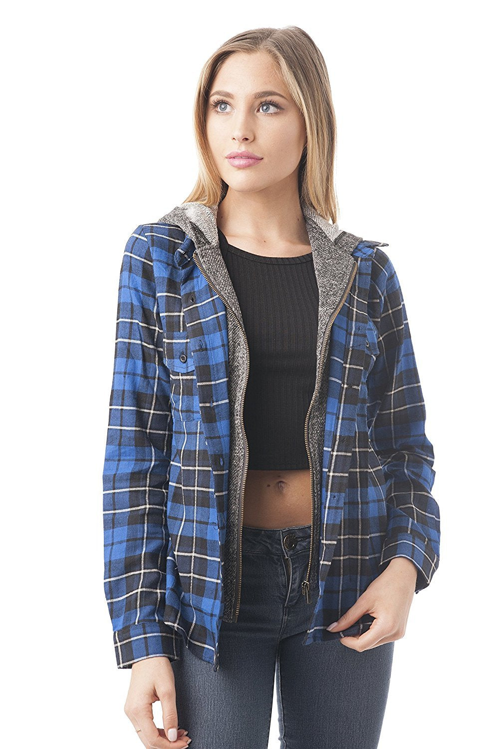 Long Sleeve Two Tone Terry Mixed Plaid Button Down Shirt