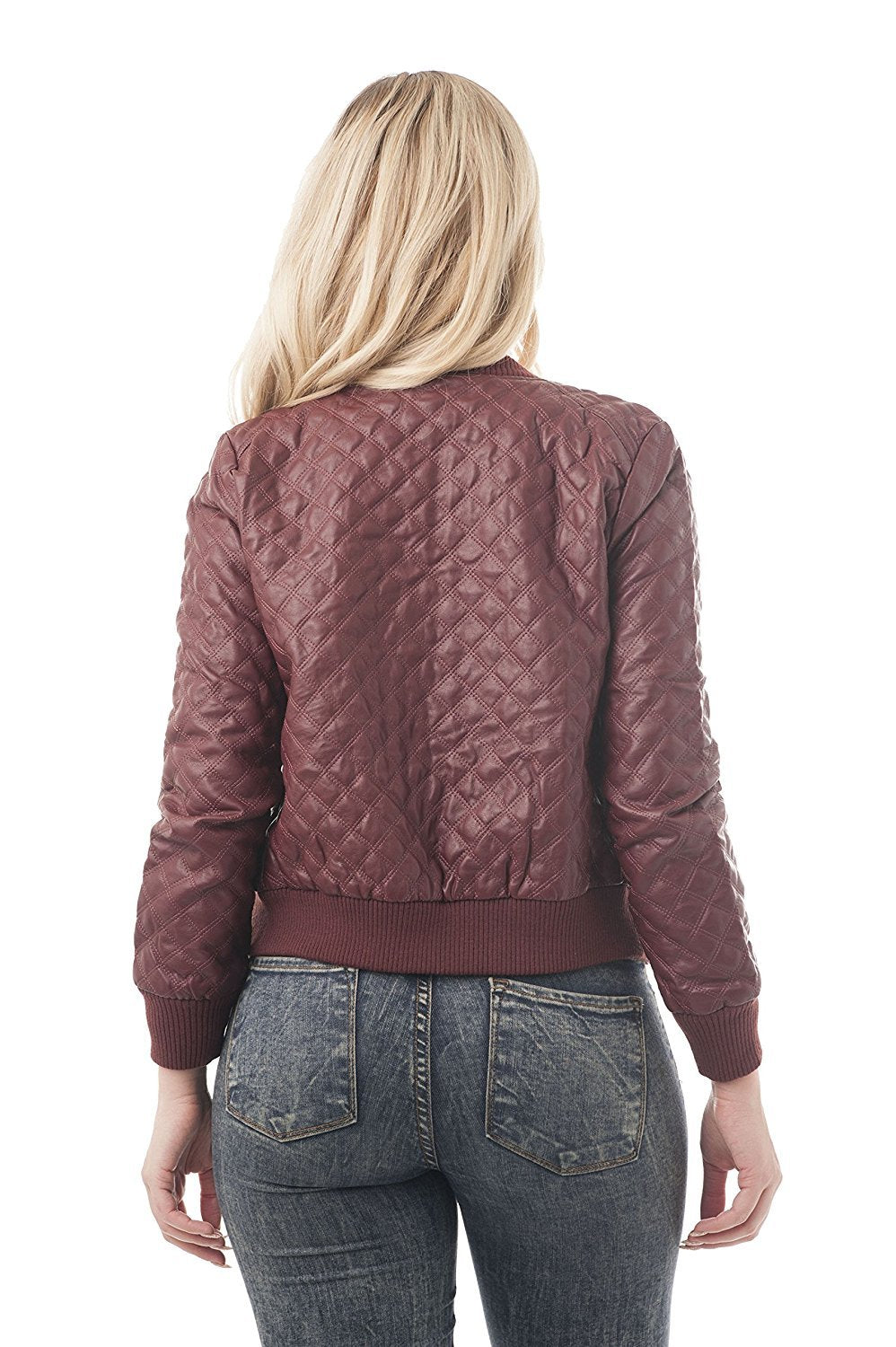 Faux Quilted Leather Jacket with Side Pockets