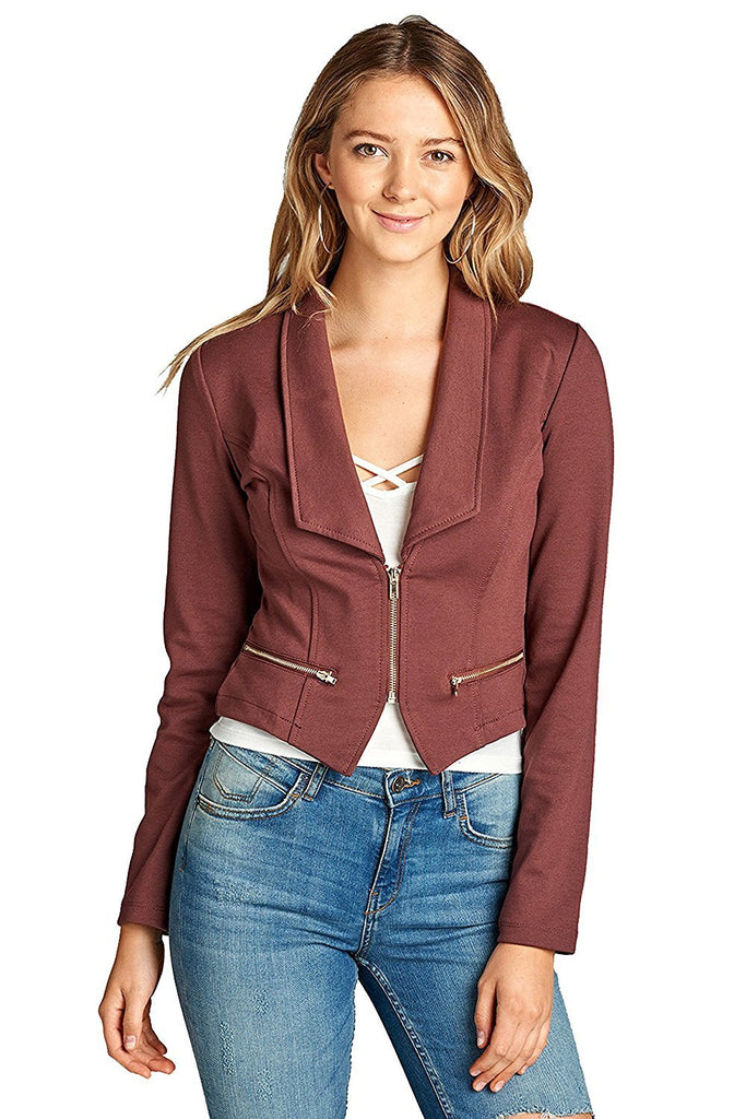 Khanomak Long Sleeve Zip Up Front Deep V Basic Collar Blazer Jacket