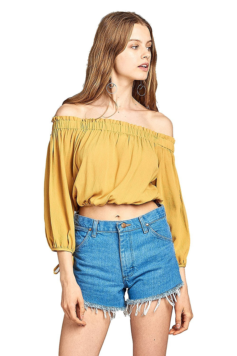 Khanomak 3/4 Drawstring Sleeve Elasticized Off Shoulder Neckline Crinkle Crop Top