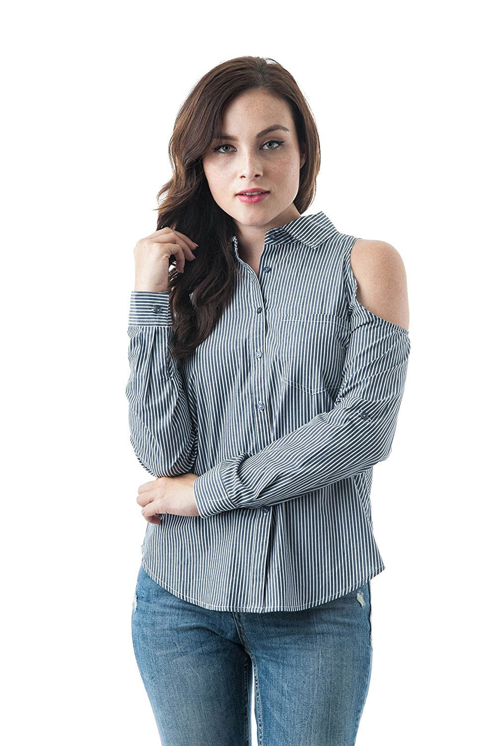 Long Sleeve Collar Button Down Cold Shoulder Striped Pattern top