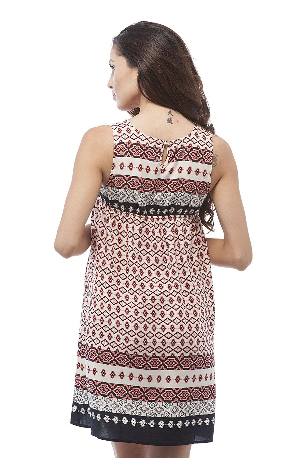 Sleeveless V neck Printed Woven Dress