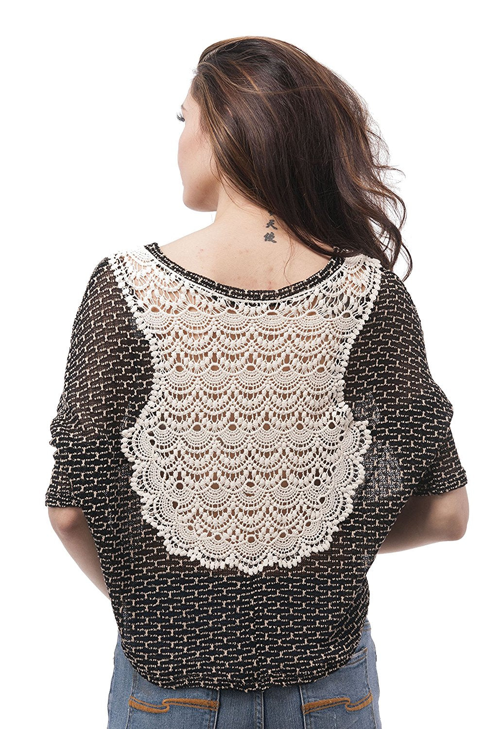 Batwing crop top with knit design on back