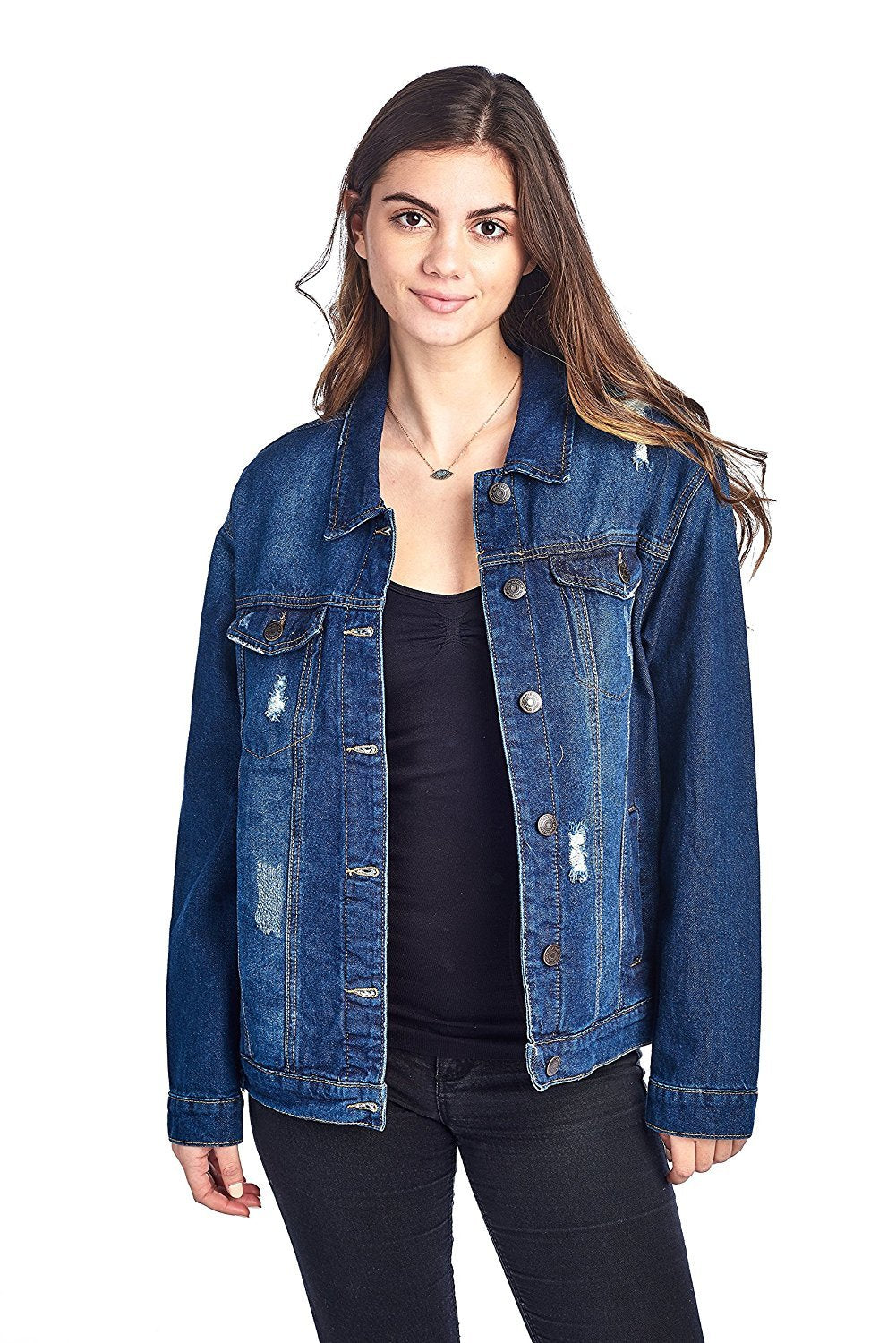 Khanomak Classic Long Over Sized Denim Distress Buttoned Front Long Sleeve Basic Collar Jacket
