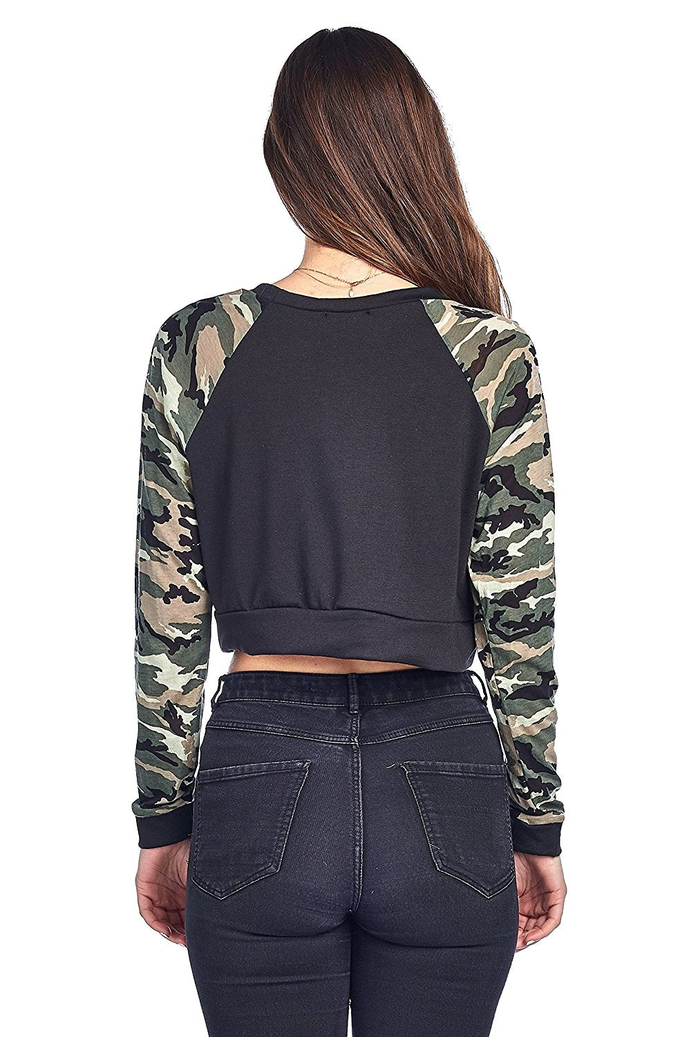 Khanomak Long Sleeve Round Neck Camo Contrast Sleeves Cropped Sweatshirt Top