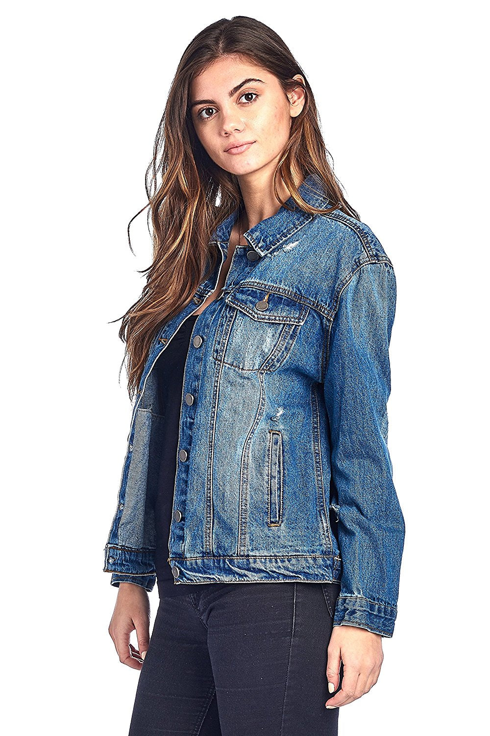 Khanomak Classic Long Jean Distress Oversized Denim Basic Collar Button Front Jacket