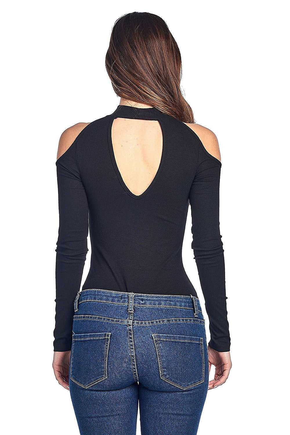 Long Sleeve Ribbed Mock Neck Cold Shoulder Front And Back Cutout Bodysuit