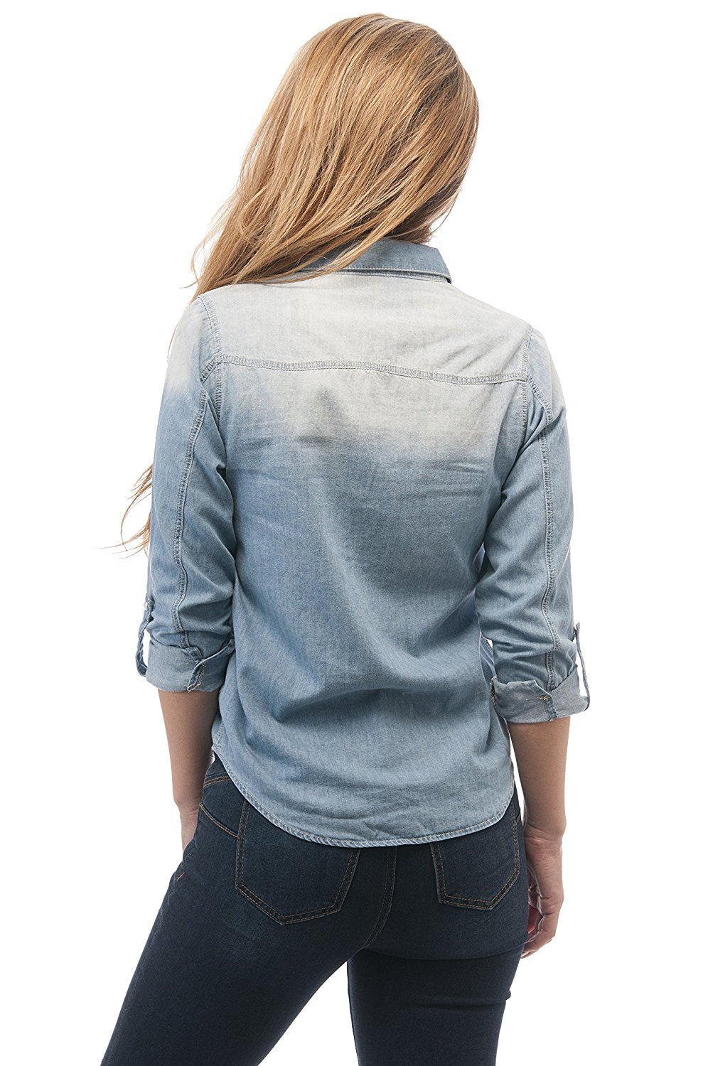 Denim Jean Roll Up Sleeve Top