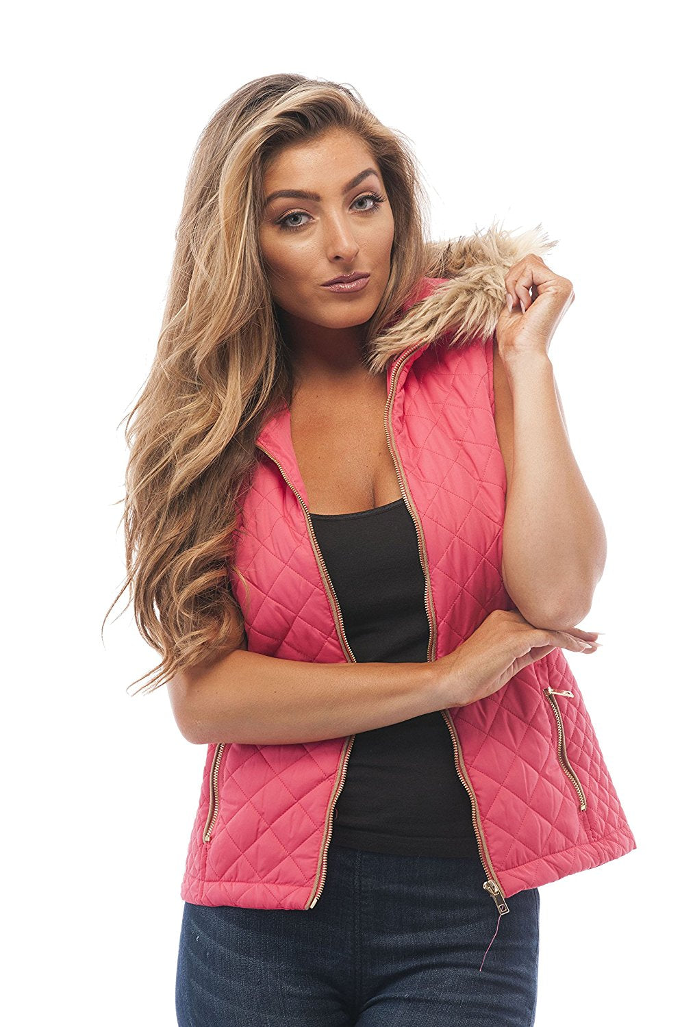 Hollywood Star Fashion Quilted Padded Vest With Fur On The Hoodie