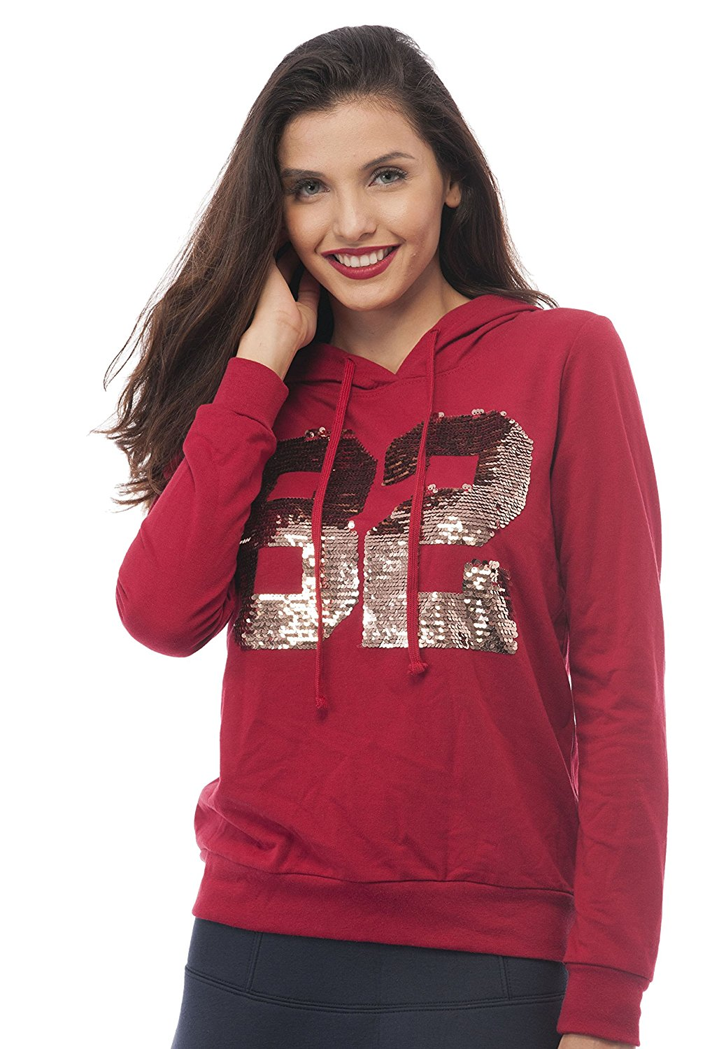 Hollywood Star Fashion Long Sleeve #82 Sequin Embroidered Hoodie Top