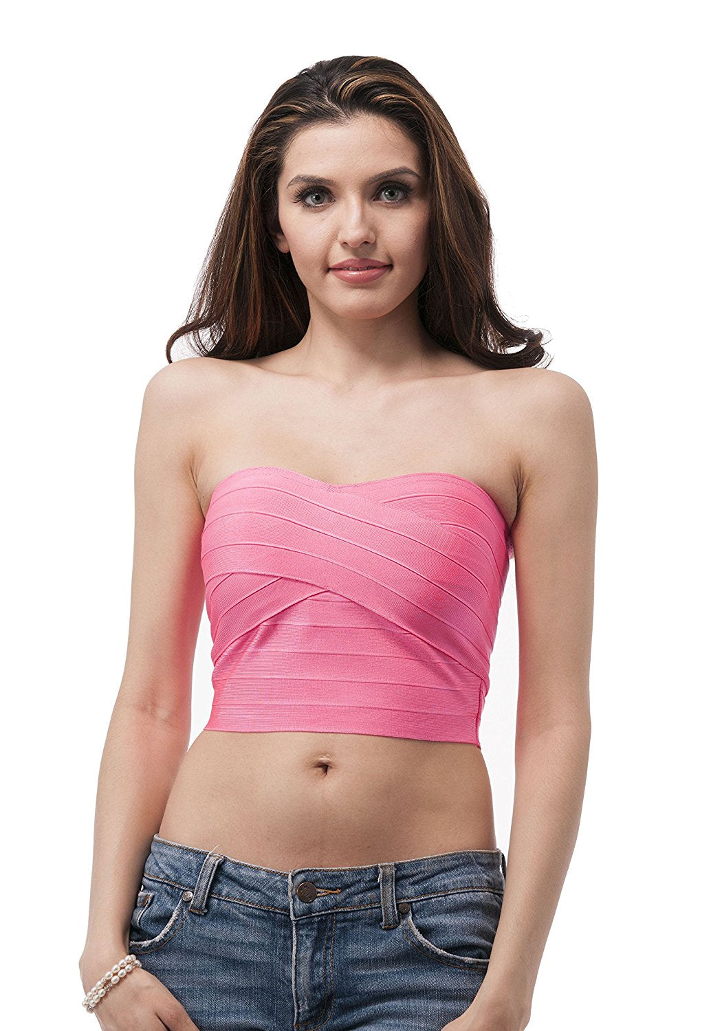 Hollywood Star Fashion Tube Top Bandage Style Crop Top With Zipper On The Back