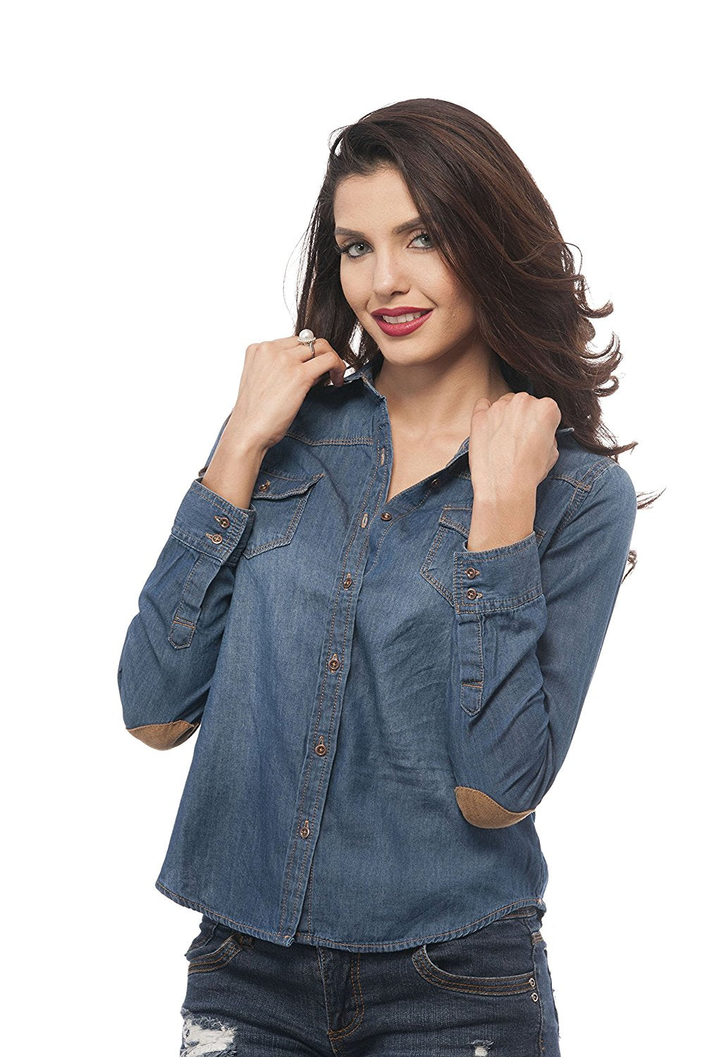 Denim Button Down Top With Elbow Patches