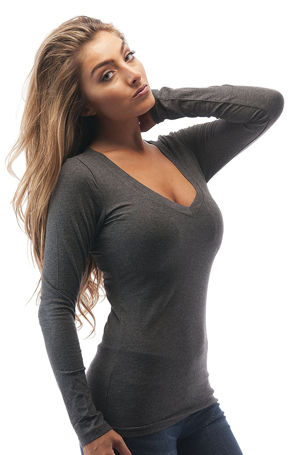 Hollywood Star Fashion Womens Long Sleeve V Neck Top XL Plus Size