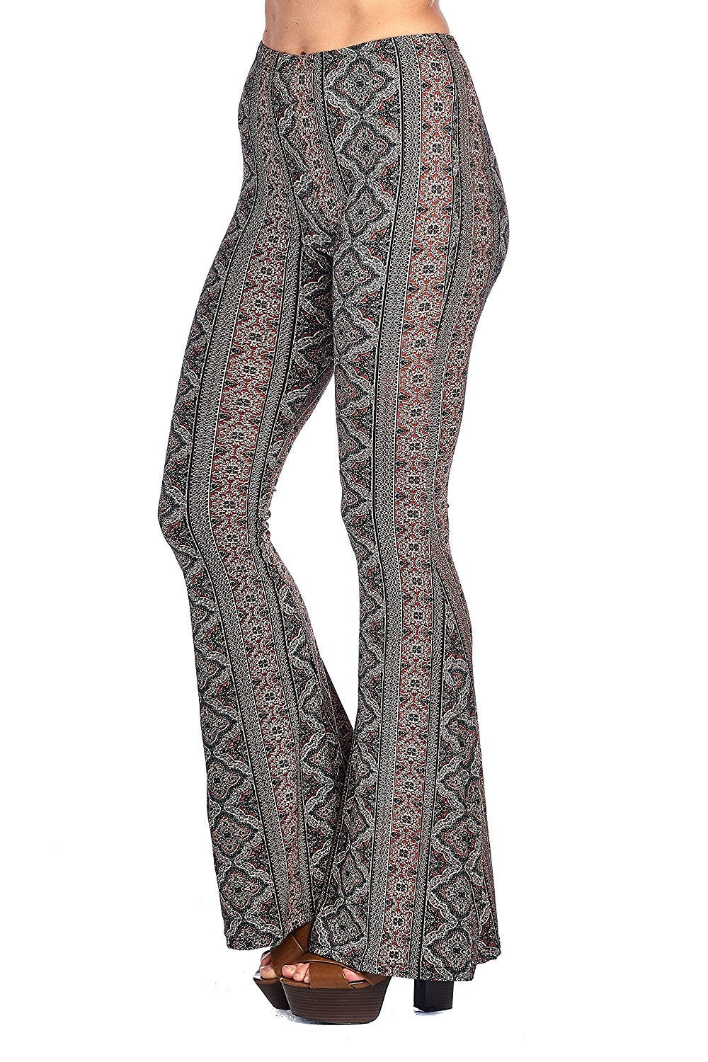 Khanomak Mid-Rise Waist Mixed Print Long Bell Bottom Flared Legging Pants