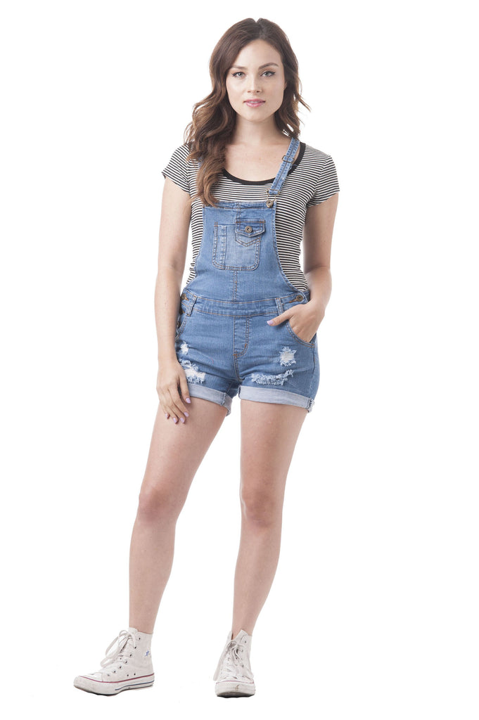 Denim Jean Distressed Cuffed Hem Overall Shorts